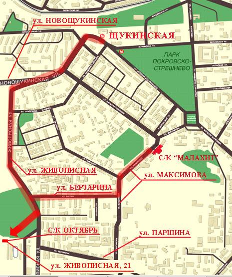 Стадион Октябрь на карте Москвы